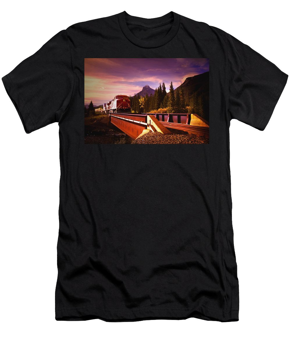 Direction Men's T-Shirt (Athletic Fit) featuring the photograph Train Going Over A Bridge Banff by Darren Greenwood
