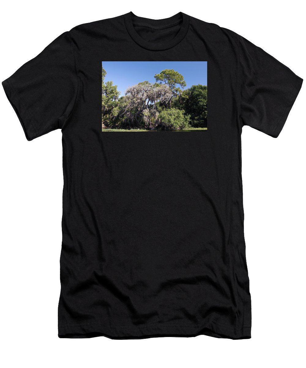Trees Men's T-Shirt (Athletic Fit) featuring the photograph Trees Decorated With Moss by Sally Weigand
