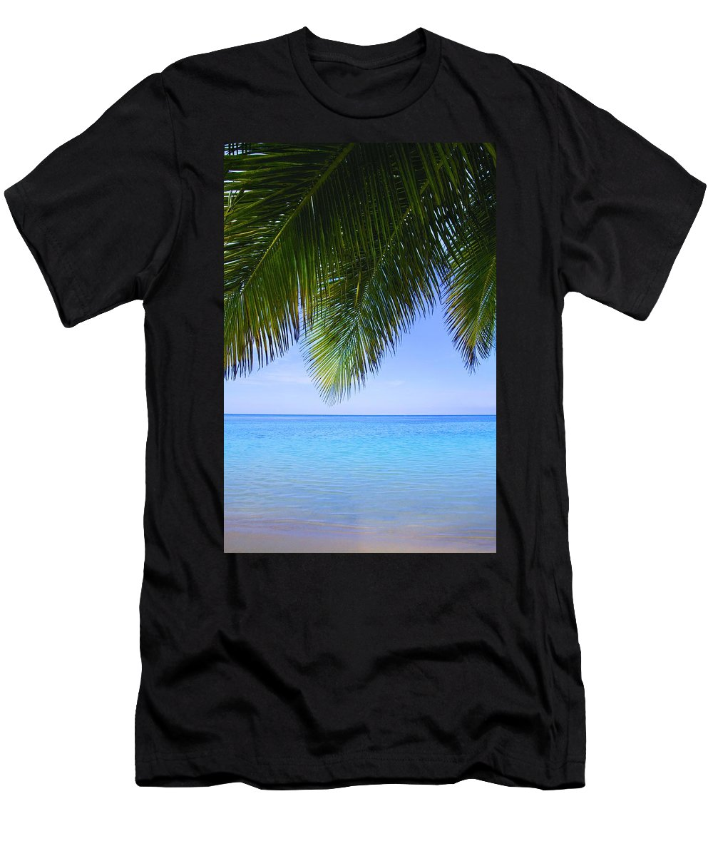 Blue Sky Men's T-Shirt (Athletic Fit) featuring the photograph Tropical View by Don Hammond