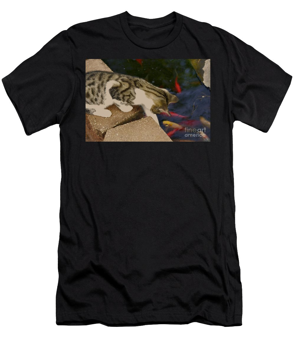 Animal Men's T-Shirt (Athletic Fit) featuring the photograph Trying To Catch The Fish by Donna Brown