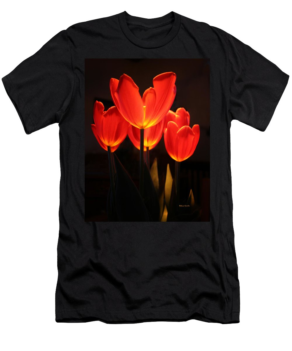 Tulip Men's T-Shirt (Athletic Fit) featuring the photograph Tulips by Rebecca Samler