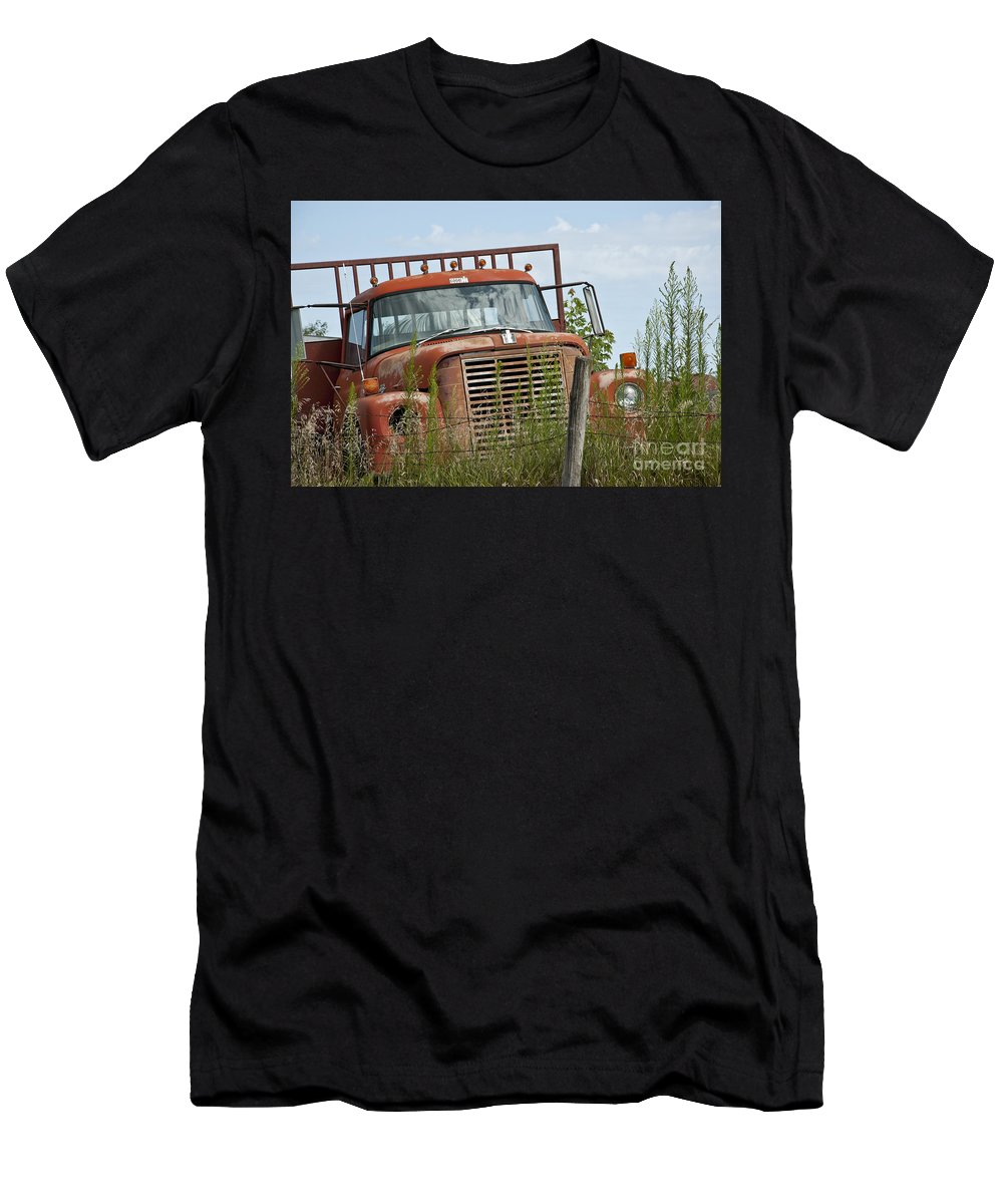 Old Truck Men's T-Shirt (Athletic Fit) featuring the photograph Turned Out To Pasture by Wilma Birdwell