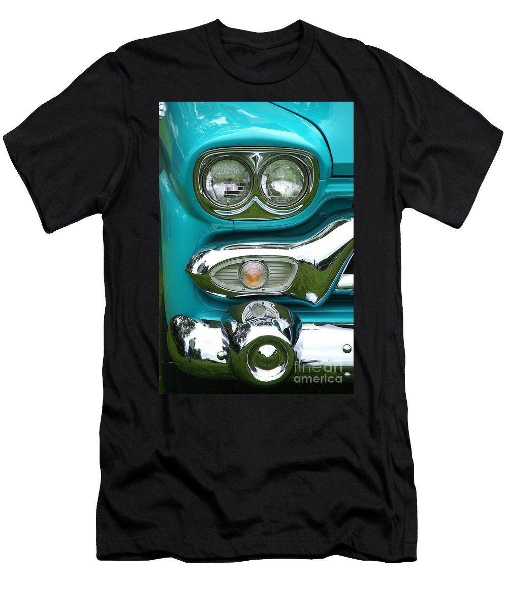 Custom Cars Men's T-Shirt (Athletic Fit) featuring the photograph Turquoise Headlight by Randy Harris