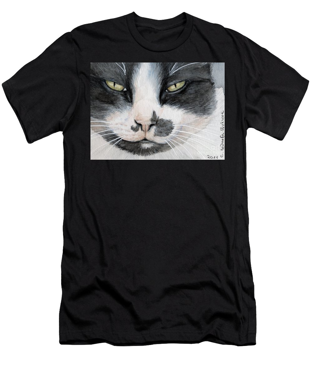 Cat Men's T-Shirt (Athletic Fit) featuring the painting Tuxedo Cat by Svetlana Ledneva-Schukina