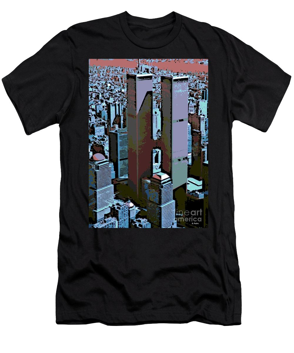 Twin Towers Men's T-Shirt (Athletic Fit) featuring the photograph Twin Towers by George Pedro