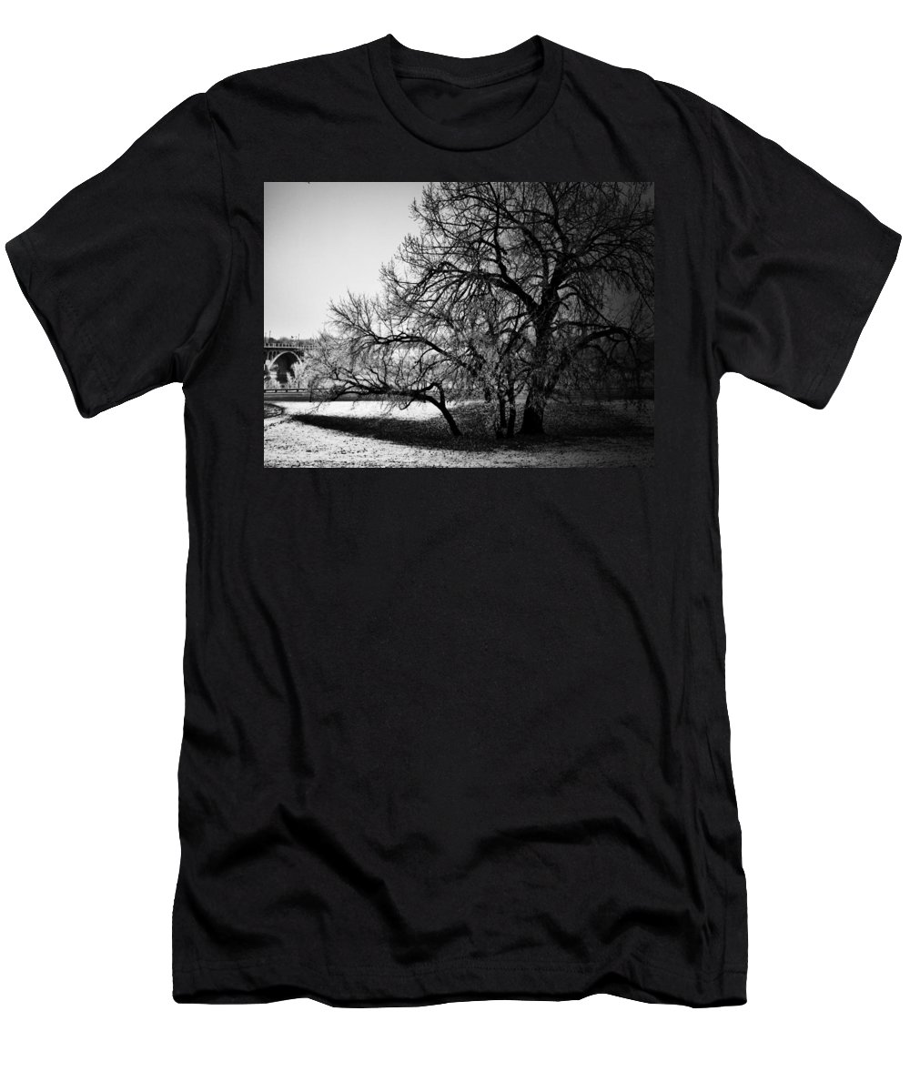 Black And White World Photographer Men's T-Shirt (Athletic Fit) featuring the photograph Under The Waiting Tree by The Artist Project