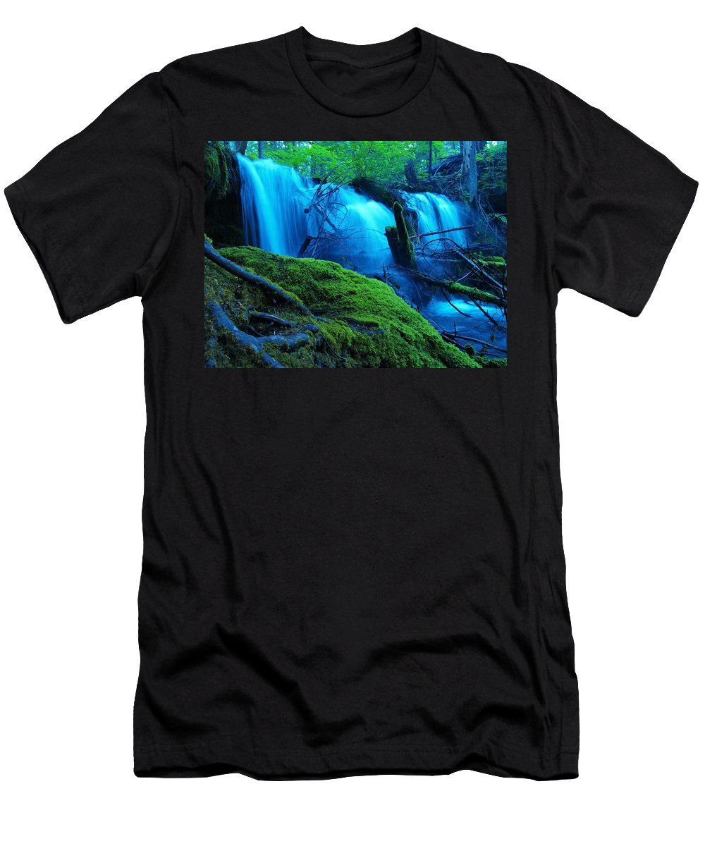 Waterfall Men's T-Shirt (Athletic Fit) featuring the digital art Unstoppable Flow by Teri Schuster