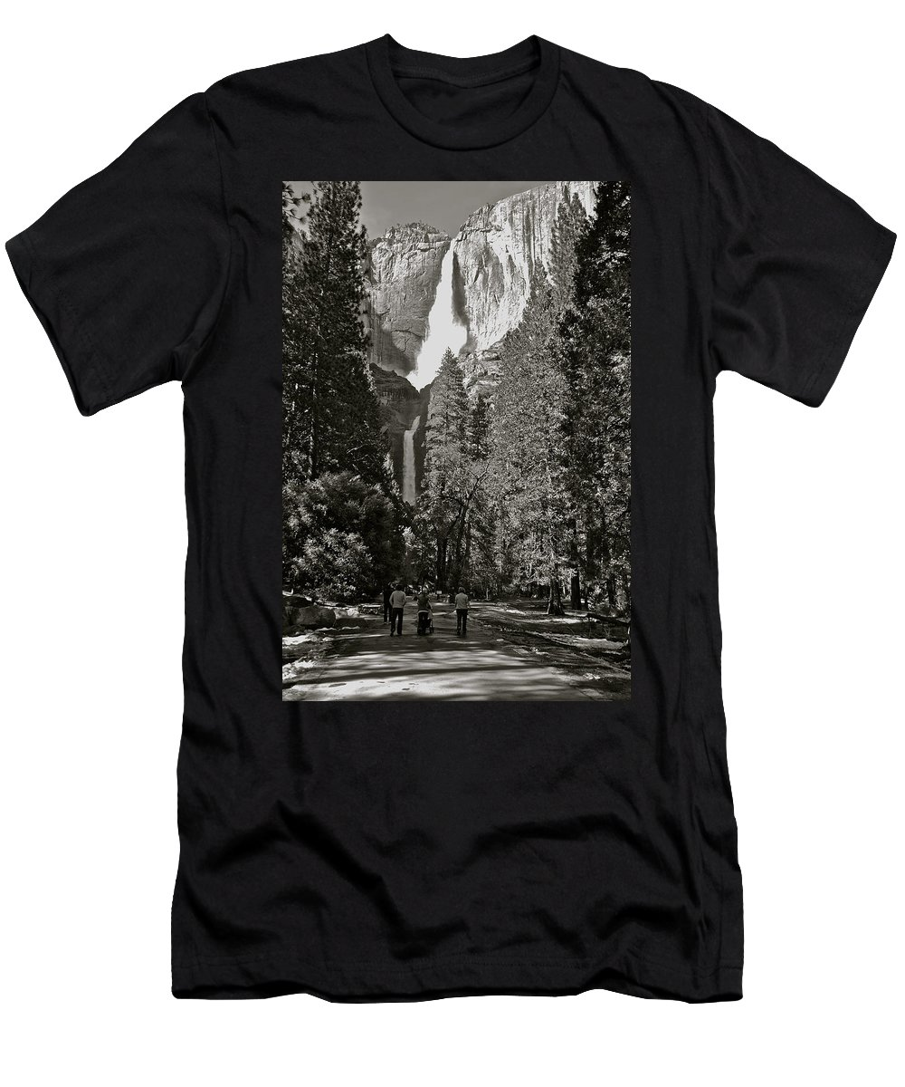 Yosemite Men's T-Shirt (Athletic Fit) featuring the photograph Upper And Lower Yosemite Falls by Eric Tressler