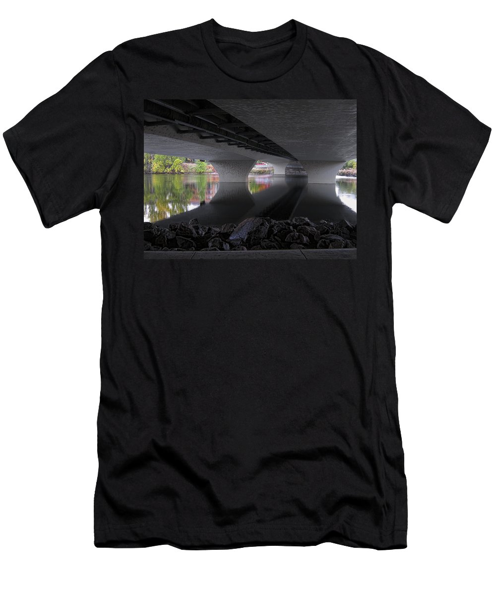 Bridge Men's T-Shirt (Athletic Fit) featuring the photograph Urban Serenity by Daniel Hagerman