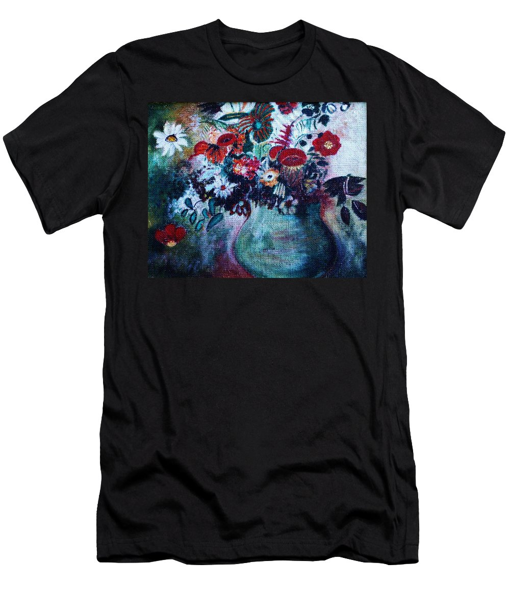 Nature Men's T-Shirt (Athletic Fit) featuring the painting Vase Of Flowers by Camelia Apostol