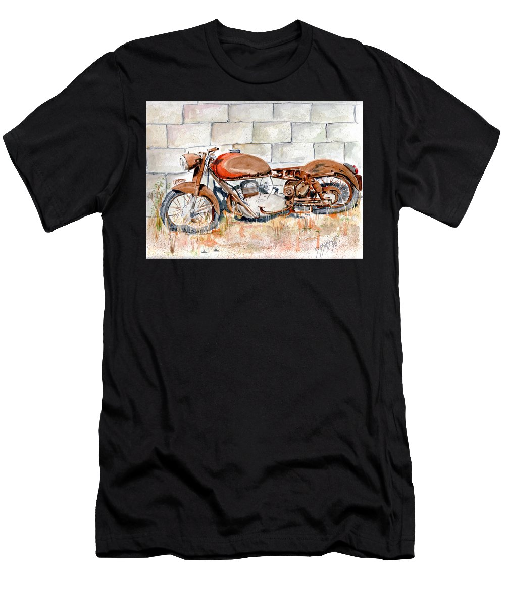 Still Life Men's T-Shirt (Athletic Fit) featuring the painting Vecchia Gilera by Giovanni Marco Sassu