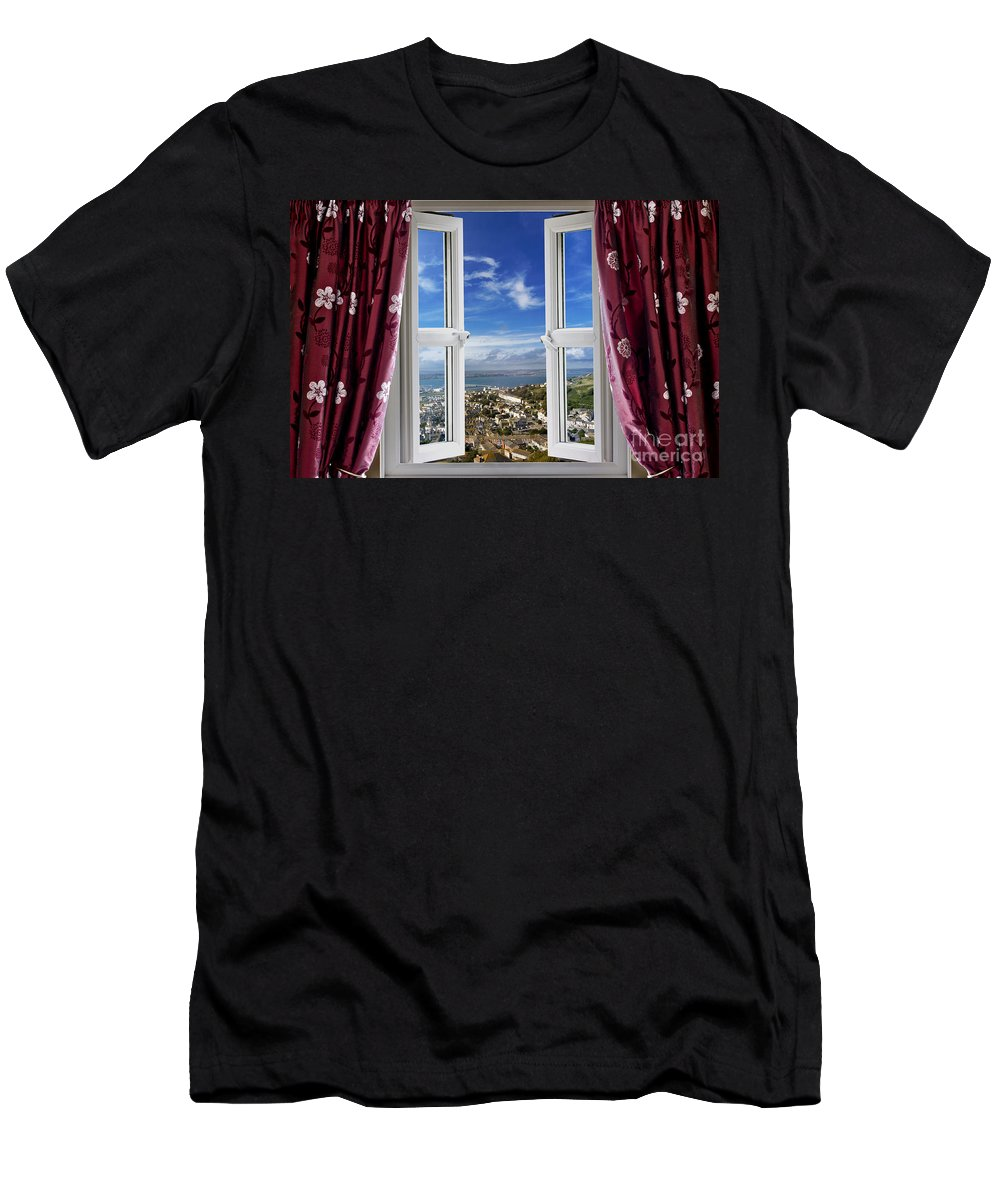 Window Men's T-Shirt (Athletic Fit) featuring the photograph View To The World by Simon Bratt Photography LRPS