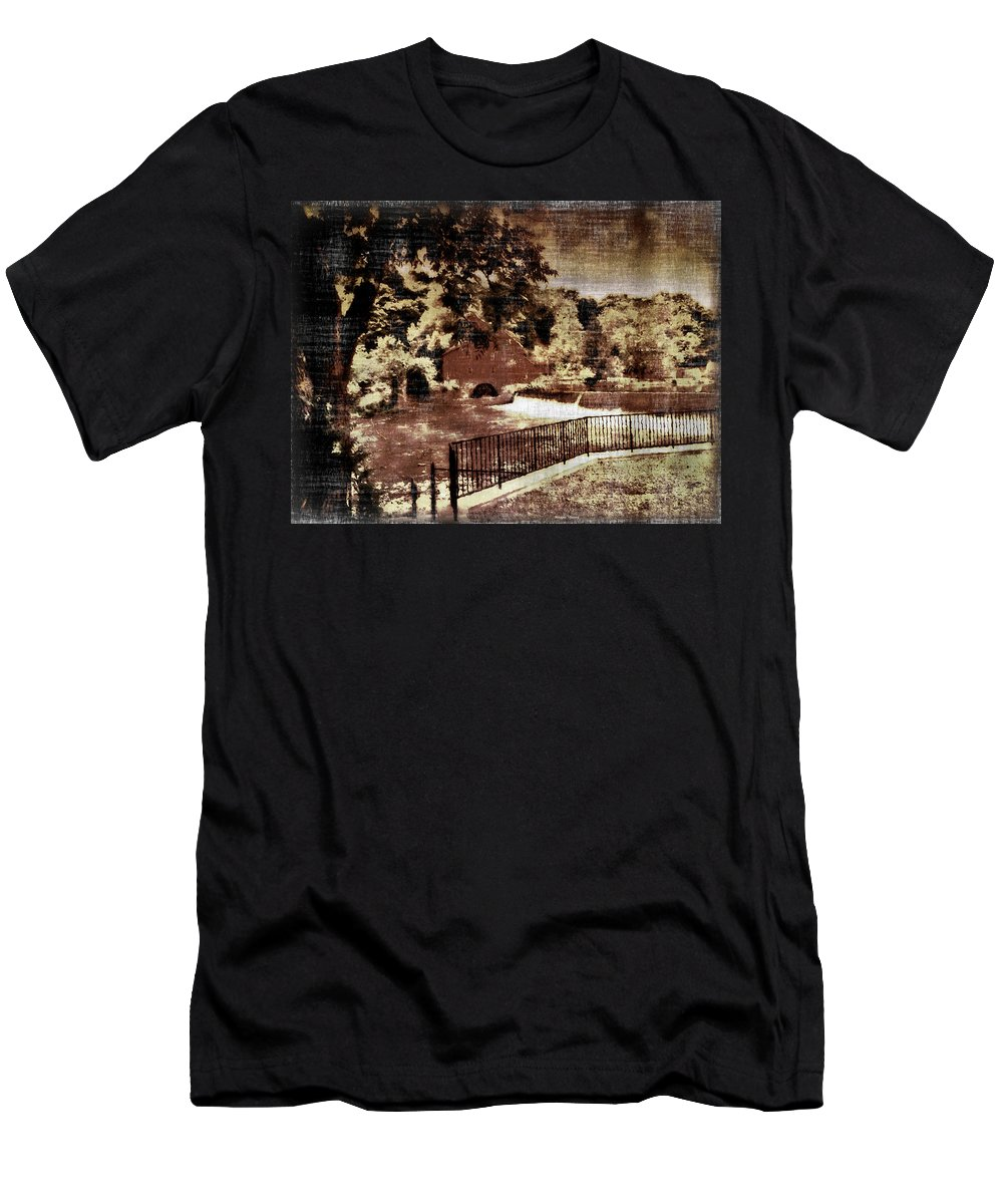 Maggie Vlazny Men's T-Shirt (Athletic Fit) featuring the mixed media The Red Mill Bucks County Nj by Femina Photo Art By Maggie