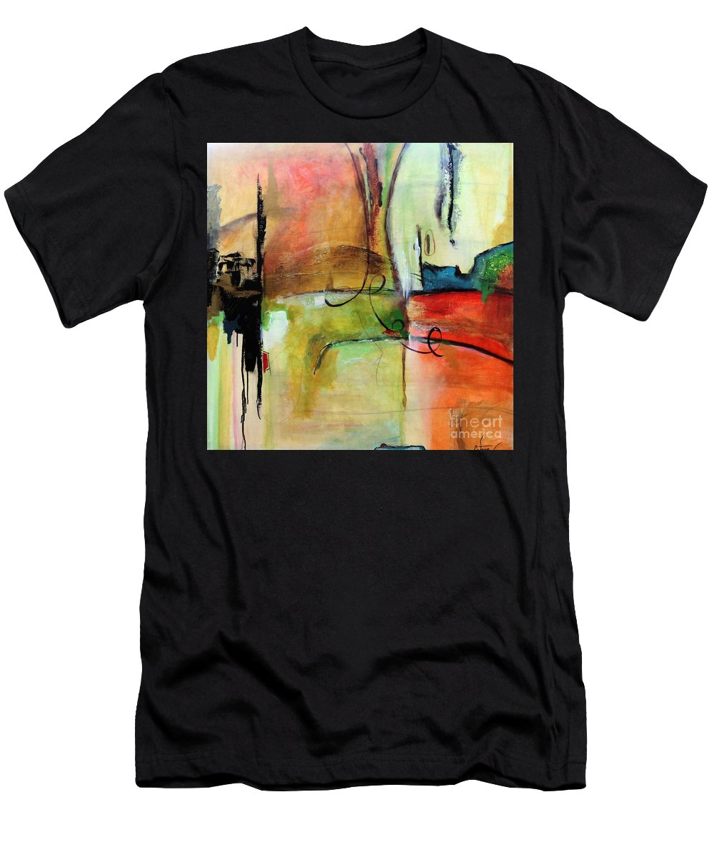 Black Men's T-Shirt (Athletic Fit) featuring the mixed media Vision Constructed by Catron Wallace