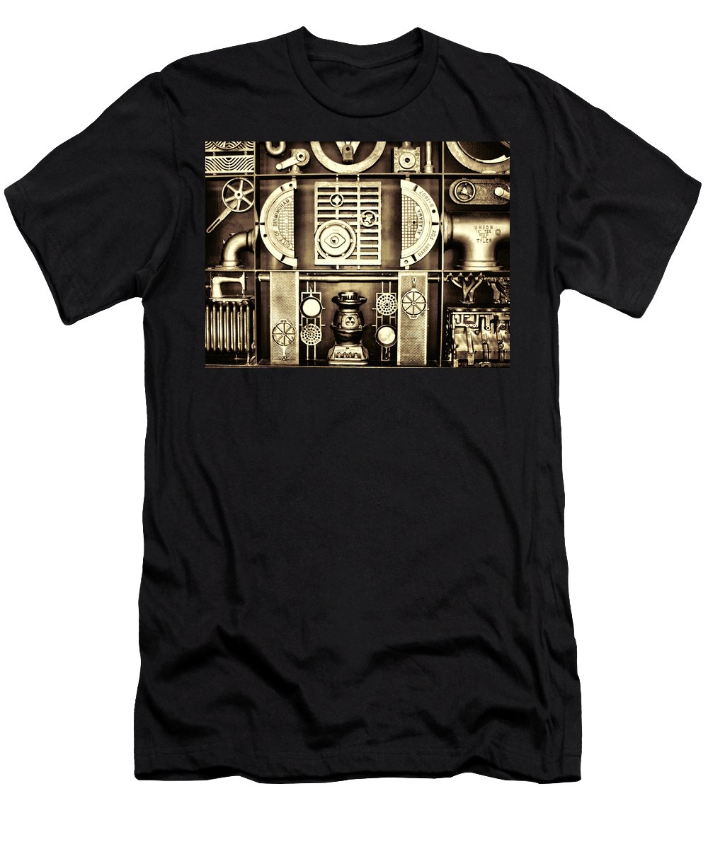Vulcan Men's T-Shirt (Athletic Fit) featuring the photograph Vulcan Steel Steampunk Metalworks by Kathy Clark