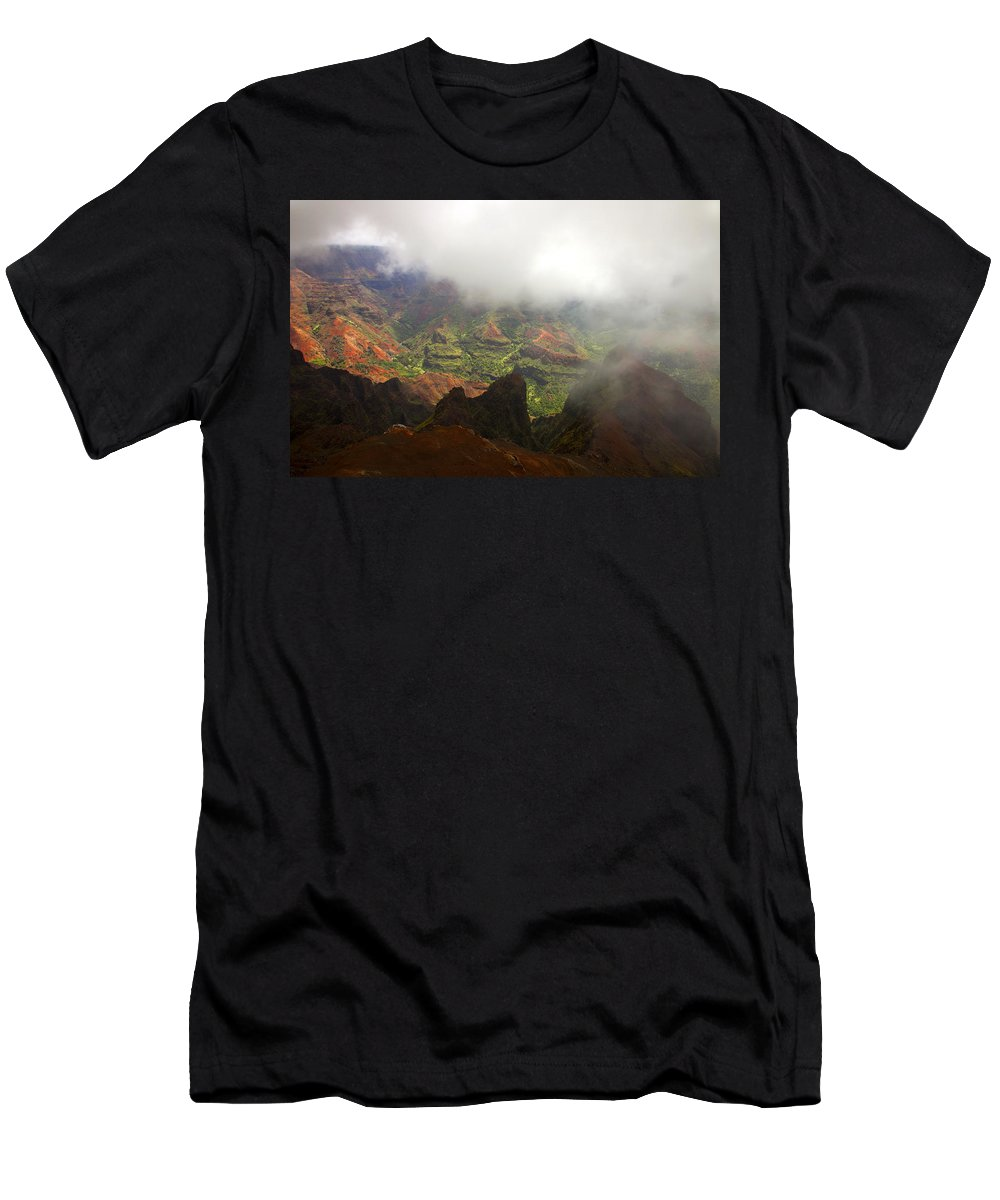 Waimea Canyon Men's T-Shirt (Athletic Fit) featuring the photograph Waimea Revealed by Mike Dawson
