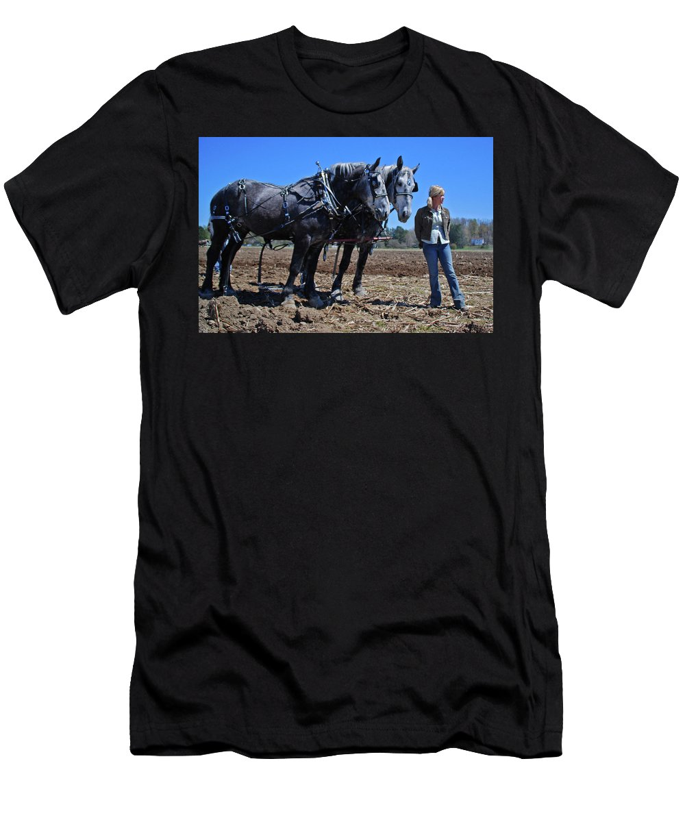 Horse Men's T-Shirt (Athletic Fit) featuring the photograph Waiting 1966 by Guy Whiteley