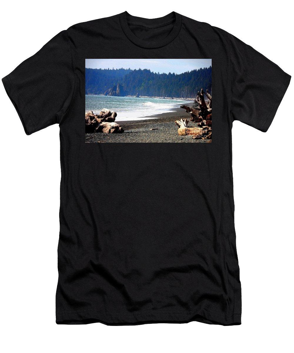 La Push Beach Men's T-Shirt (Athletic Fit) featuring the photograph Walk On La Push Beach by Carol Groenen