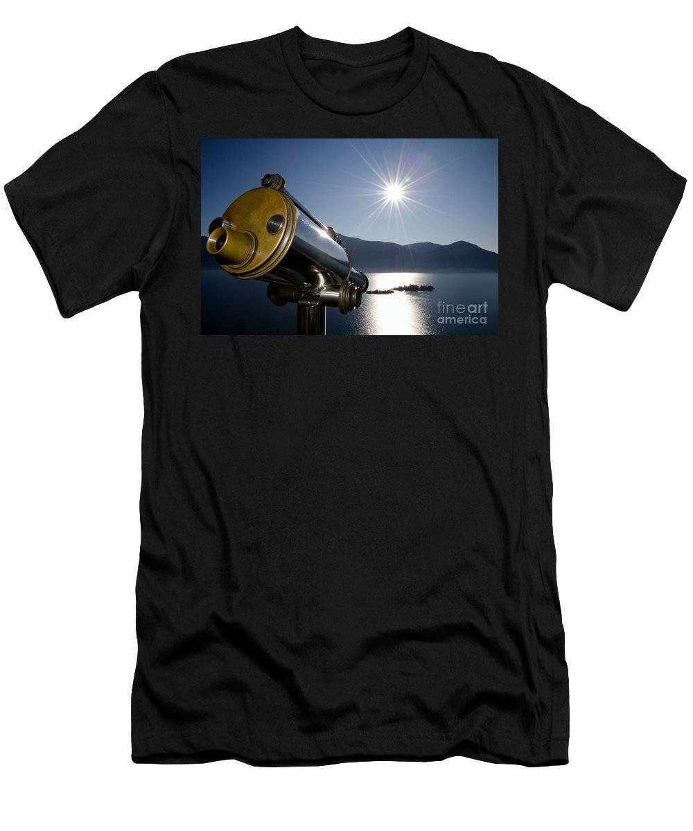 Telescope Men's T-Shirt (Athletic Fit) featuring the photograph Watching With A Telescope Islands by Mats Silvan