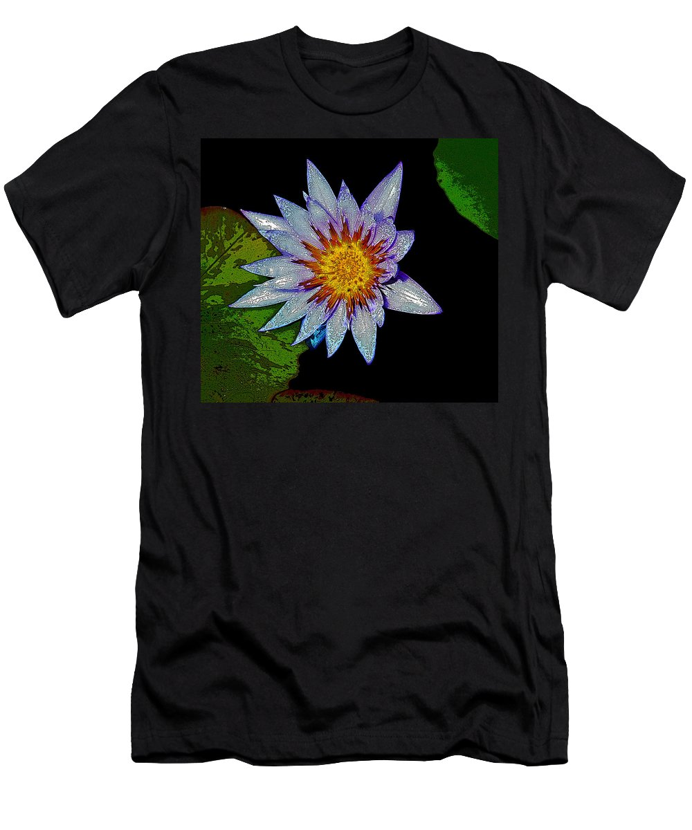 Flowers Men's T-Shirt (Athletic Fit) featuring the photograph Water Lilly Paint by Steve McKinzie