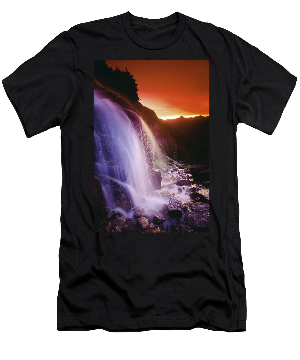 British Columbian Men's T-Shirt (Athletic Fit) featuring the photograph Waterfall At Sunset, Bugaboo Glacier by Bilderbuch
