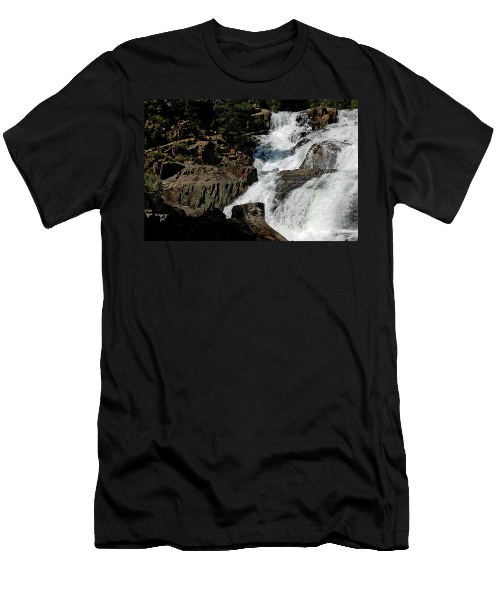 Usa Men's T-Shirt (Athletic Fit) featuring the photograph Waters Flow Glen Alpine Falls by LeeAnn McLaneGoetz McLaneGoetzStudioLLCcom