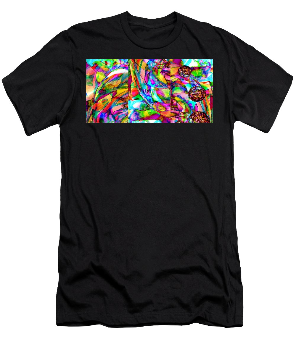 World Men's T-Shirt (Athletic Fit) featuring the mixed media Welcome To My World Triptych Horizontal by Angelina Vick
