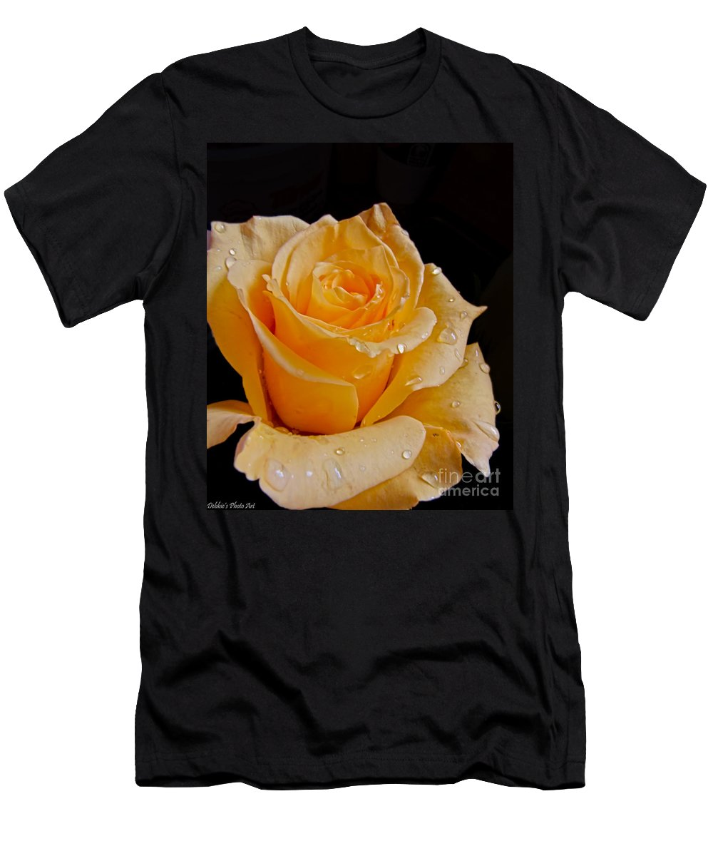 Men's T-Shirt (Athletic Fit) featuring the photograph Wet Yellow Rose by Debbie Portwood