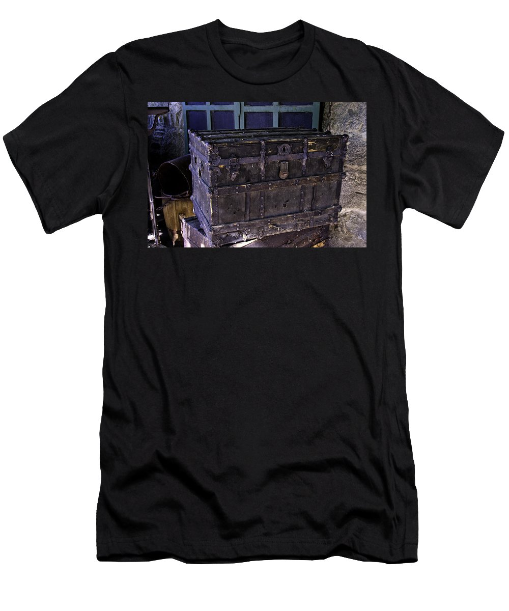 Old Men's T-Shirt (Athletic Fit) featuring the photograph What Is In The Old Trunk Genoa Nevada by LeeAnn McLaneGoetz McLaneGoetzStudioLLCcom