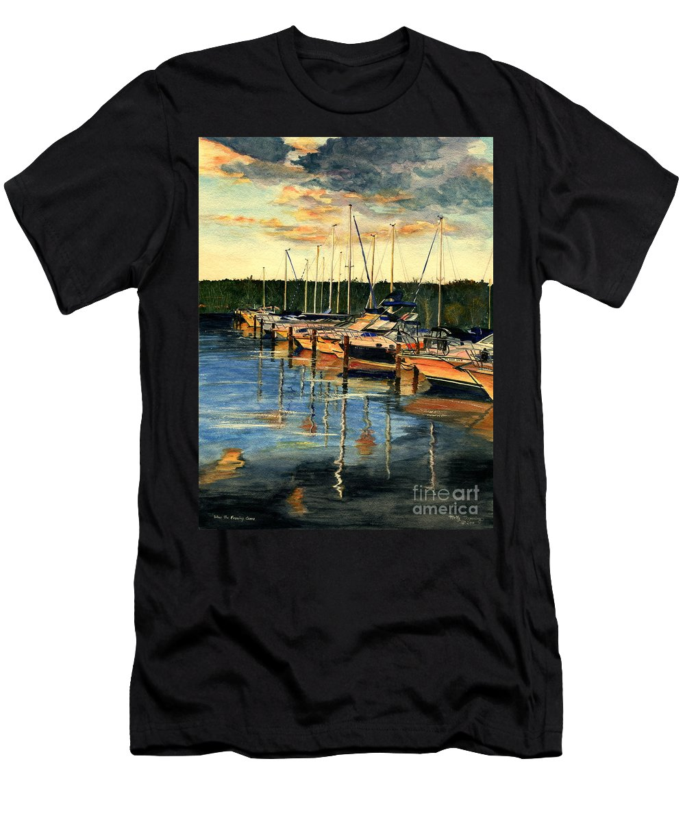 Sunset Men's T-Shirt (Athletic Fit) featuring the painting When The Evening Come by Melly Terpening