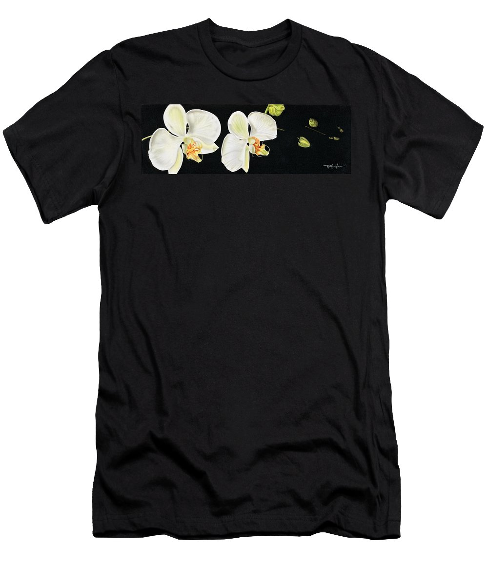 Orchids/white Orchids/flowers/canvas Paintings Men's T-Shirt (Athletic Fit) featuring the painting White Orchids by Dan Menta