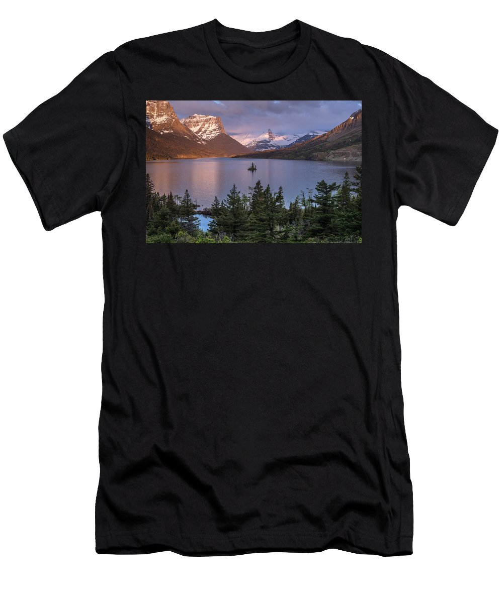Glacier National Park Men's T-Shirt (Athletic Fit) featuring the photograph Wild Goose Island 2 by Greg Nyquist