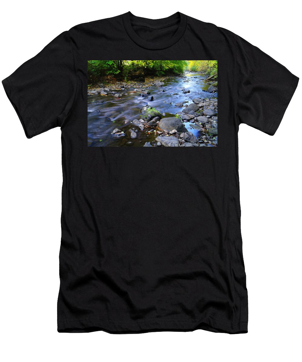 Water Men's T-Shirt (Athletic Fit) featuring the photograph Winding Through The Gold by Jeff Swan