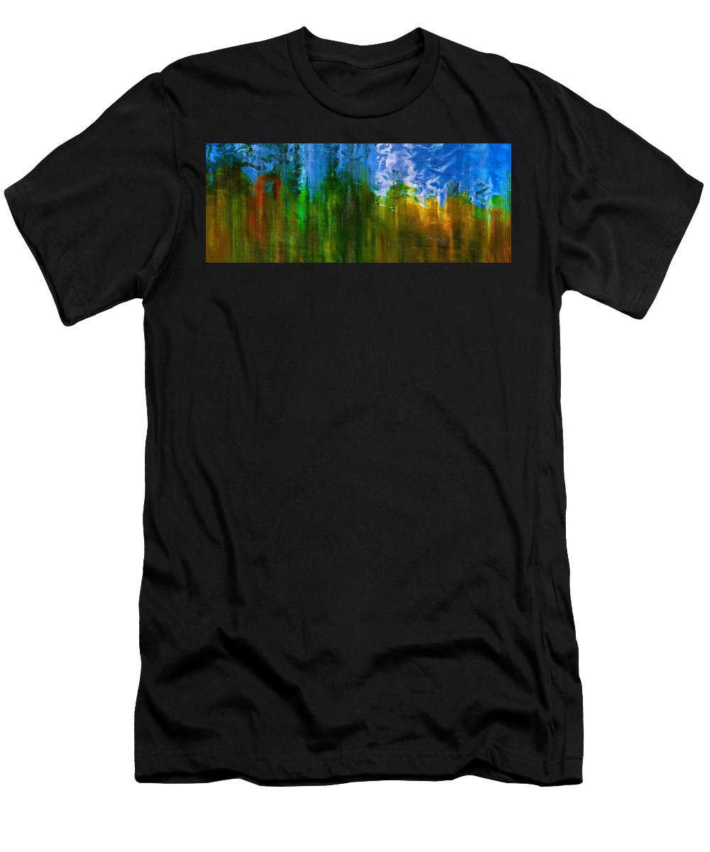 Abstract Men's T-Shirt (Athletic Fit) featuring the mixed media Windmills In My Mind by Georgiana Romanovna
