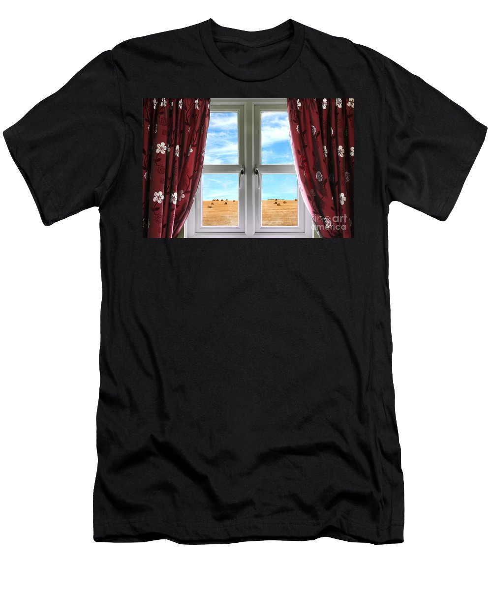 Window Men's T-Shirt (Athletic Fit) featuring the photograph Window And Curtains With View Of Crops by Simon Bratt Photography LRPS
