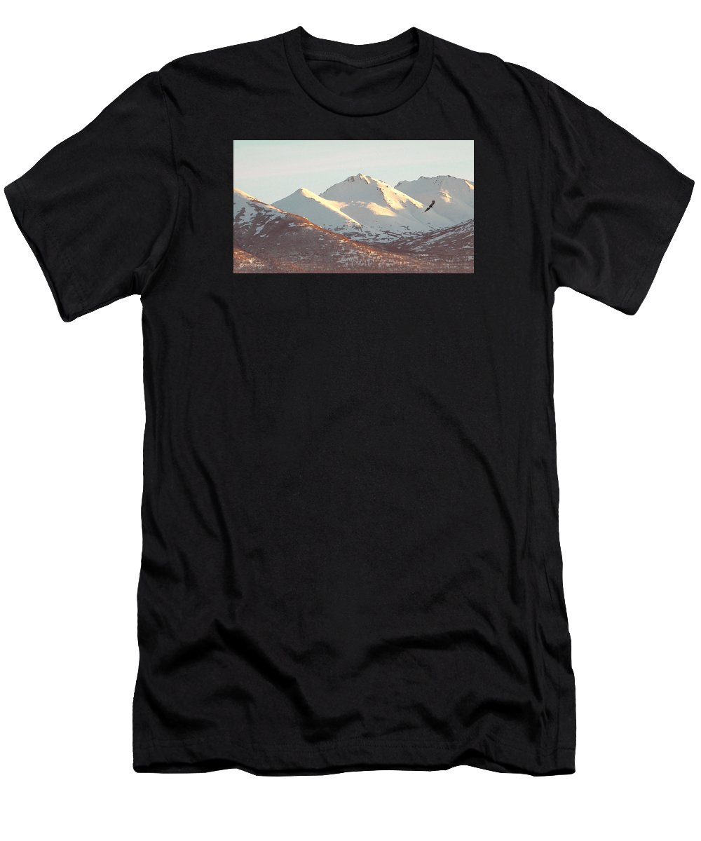 Alaska Anchorage Chugach Mountains Eagle bald Eagle Winter Snow Nature Wildlife Animals digital Art Men's T-Shirt (Athletic Fit) featuring the digital art Winter Eagle by David Devoe