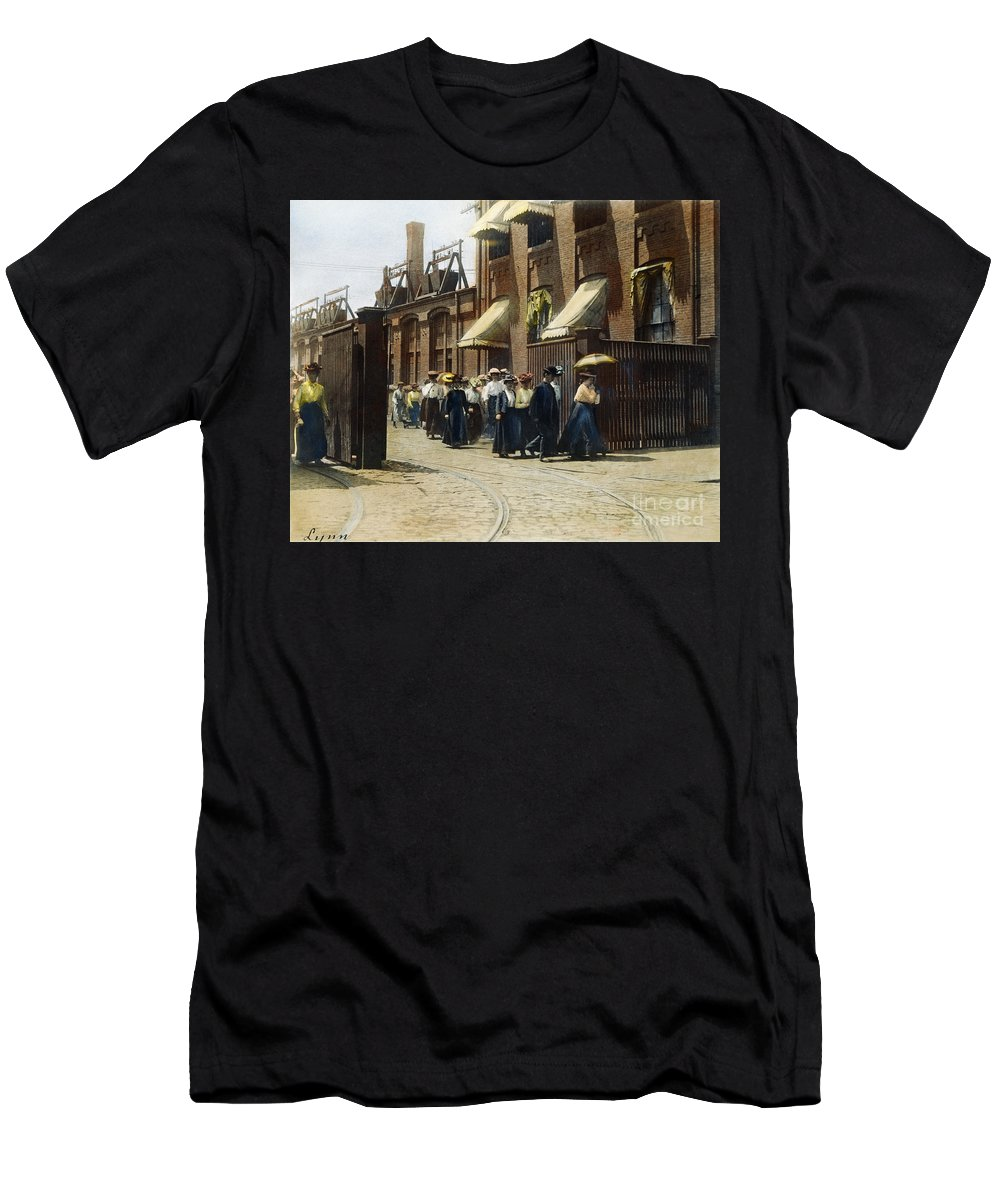 1895 Men's T-Shirt (Athletic Fit) featuring the photograph Women Leaving Work, 1895 by Granger