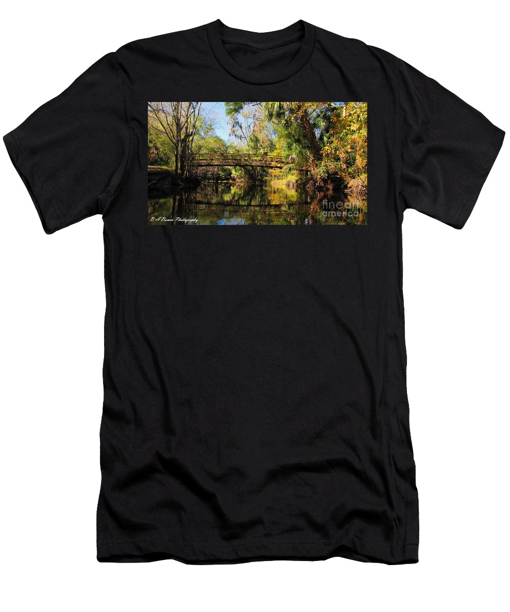 Hillsborough River Men's T-Shirt (Athletic Fit) featuring the photograph Wooden Bridge Over The Hillsborough River by Barbara Bowen