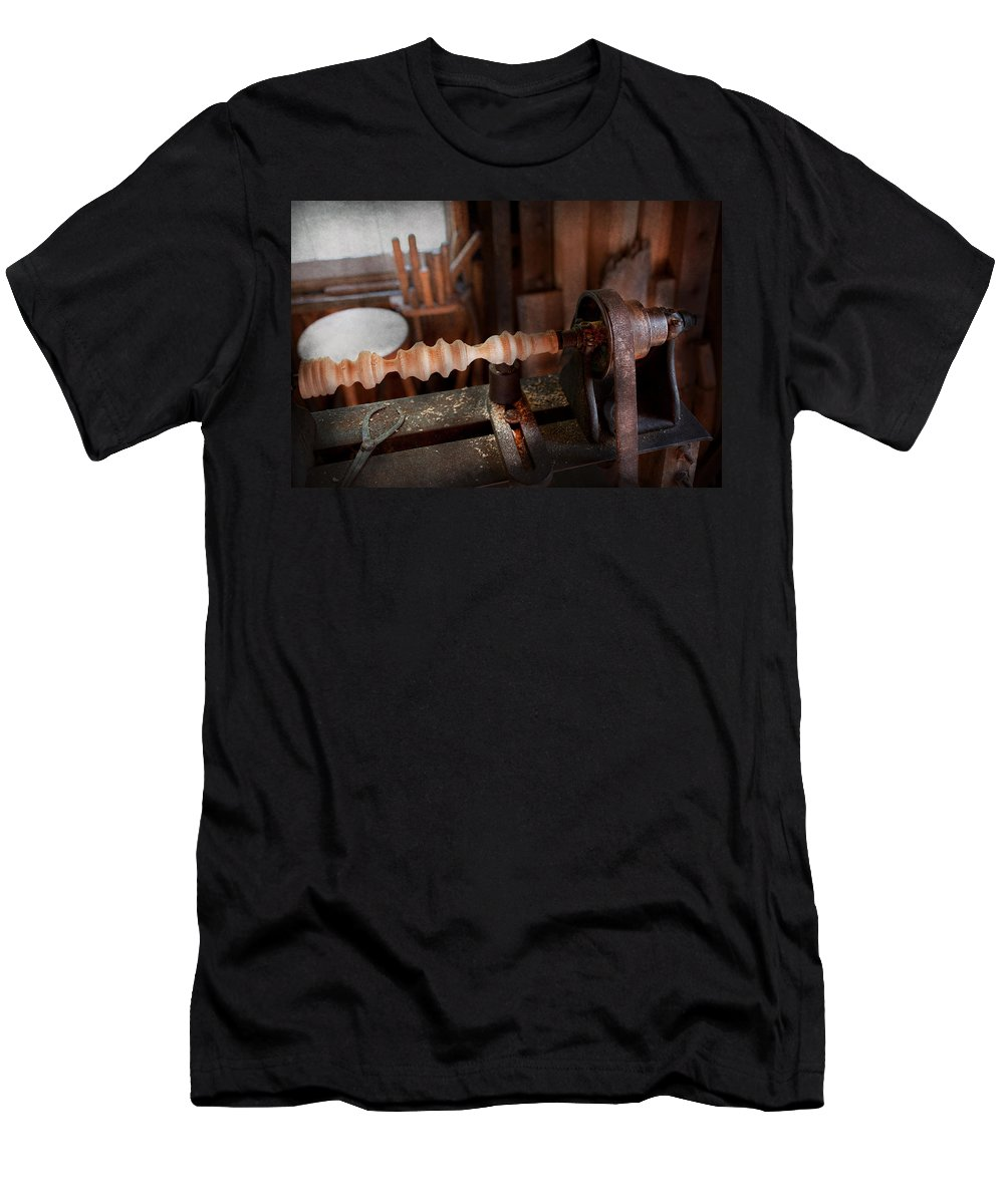 Carpenter Men's T-Shirt (Athletic Fit) featuring the photograph Woodworker - Lathe - Rough Cut by Mike Savad