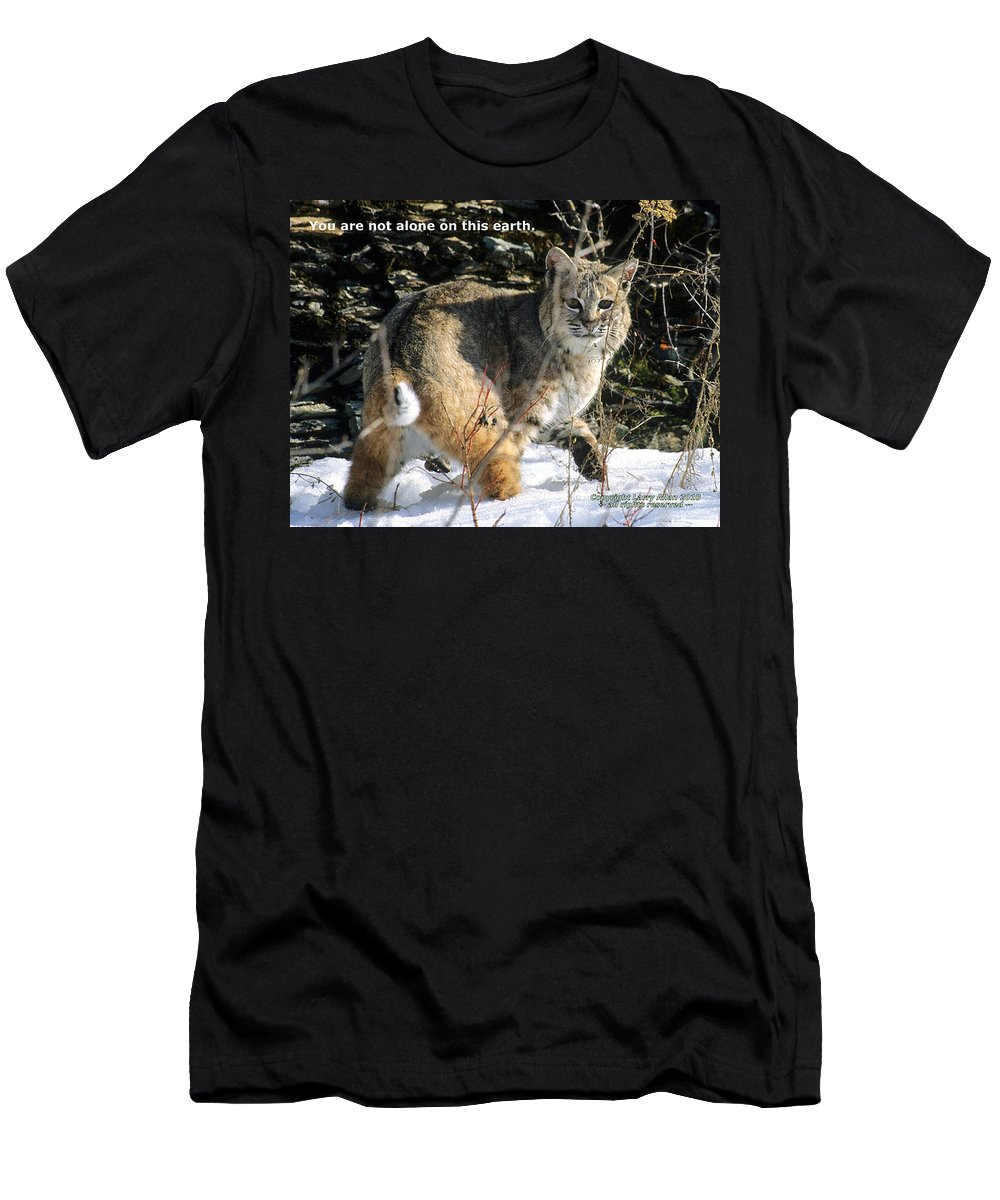 Bobcat Men's T-Shirt (Athletic Fit) featuring the photograph You Are Not Alone by Larry Allan