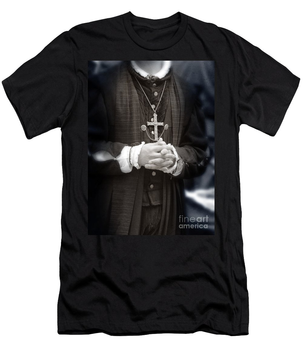 Priest Men's T-Shirt (Athletic Fit) featuring the photograph Young Renaissance Priest by Jill Battaglia
