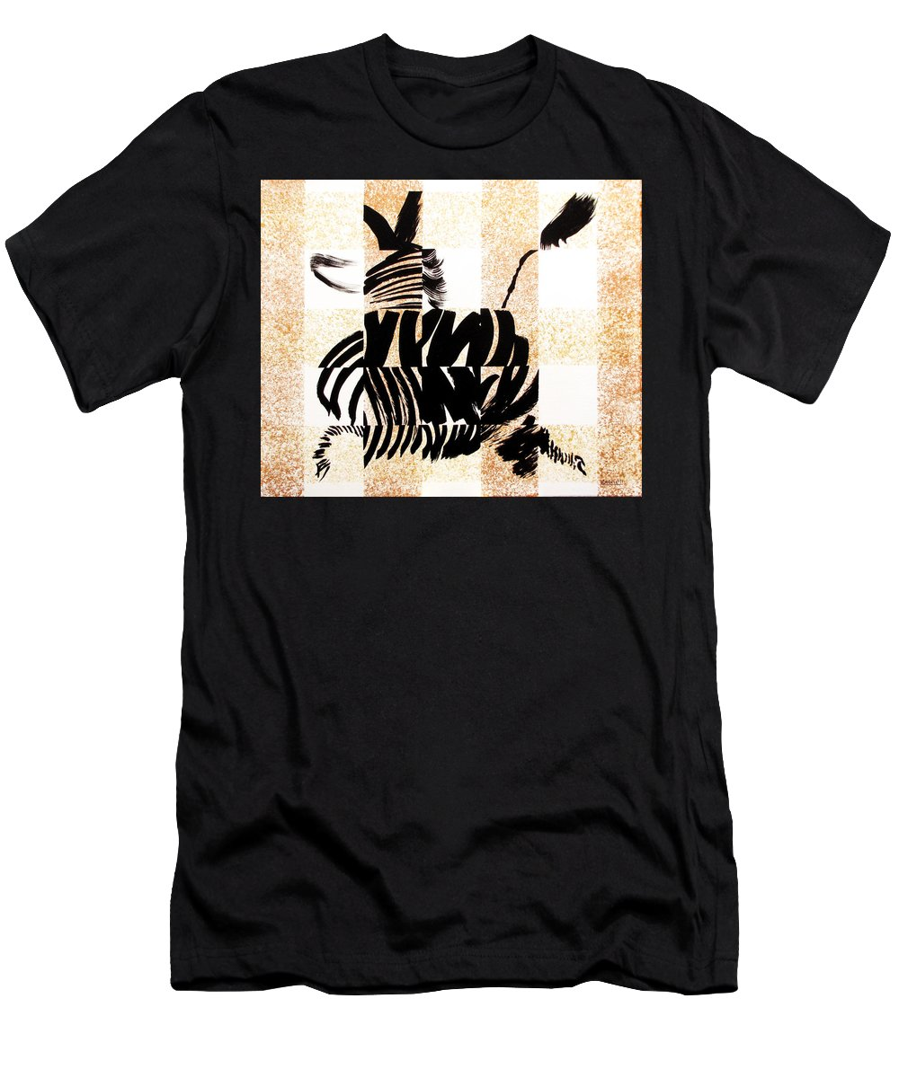 Zebra - Abstract Men's T-Shirt (Athletic Fit) featuring the painting Zebra In Flight by Vicki Crone
