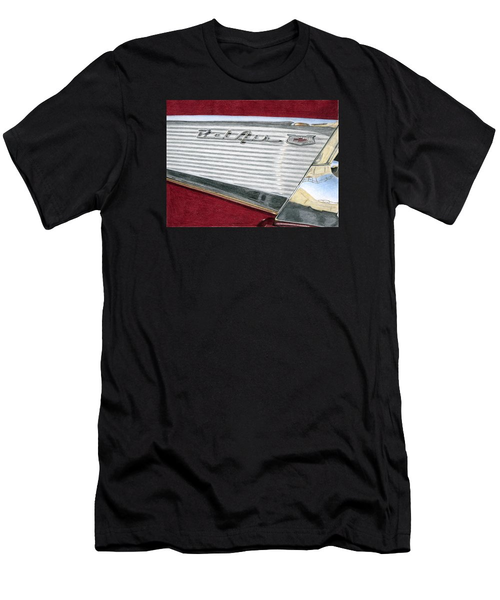 Classic Men's T-Shirt (Athletic Fit) featuring the drawing 1957 Chevrolet Bel Air Convertible by Rob De Vries