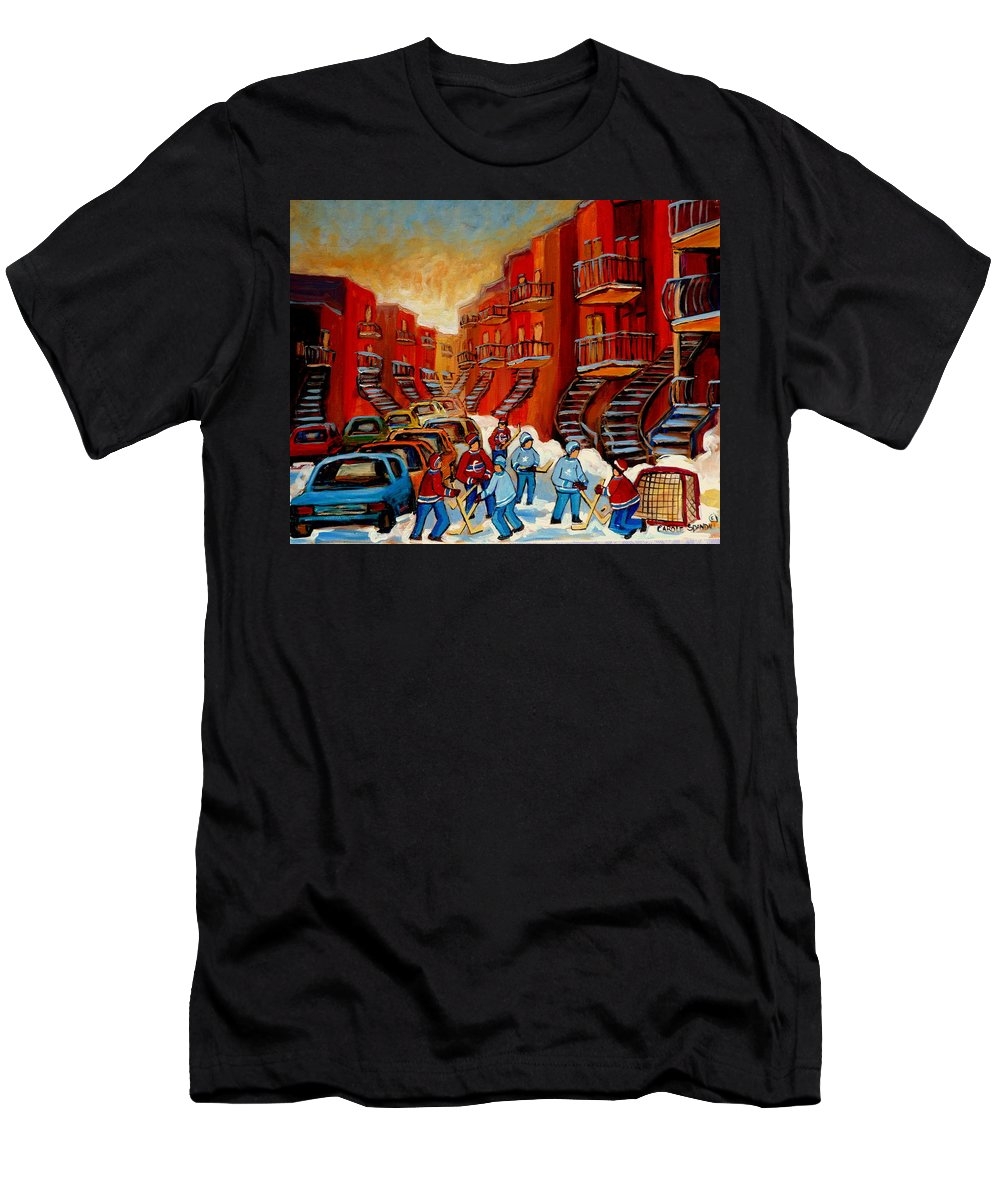 Hockey Men's T-Shirt (Athletic Fit) featuring the painting A Beautiful Day For The Game by Carole Spandau