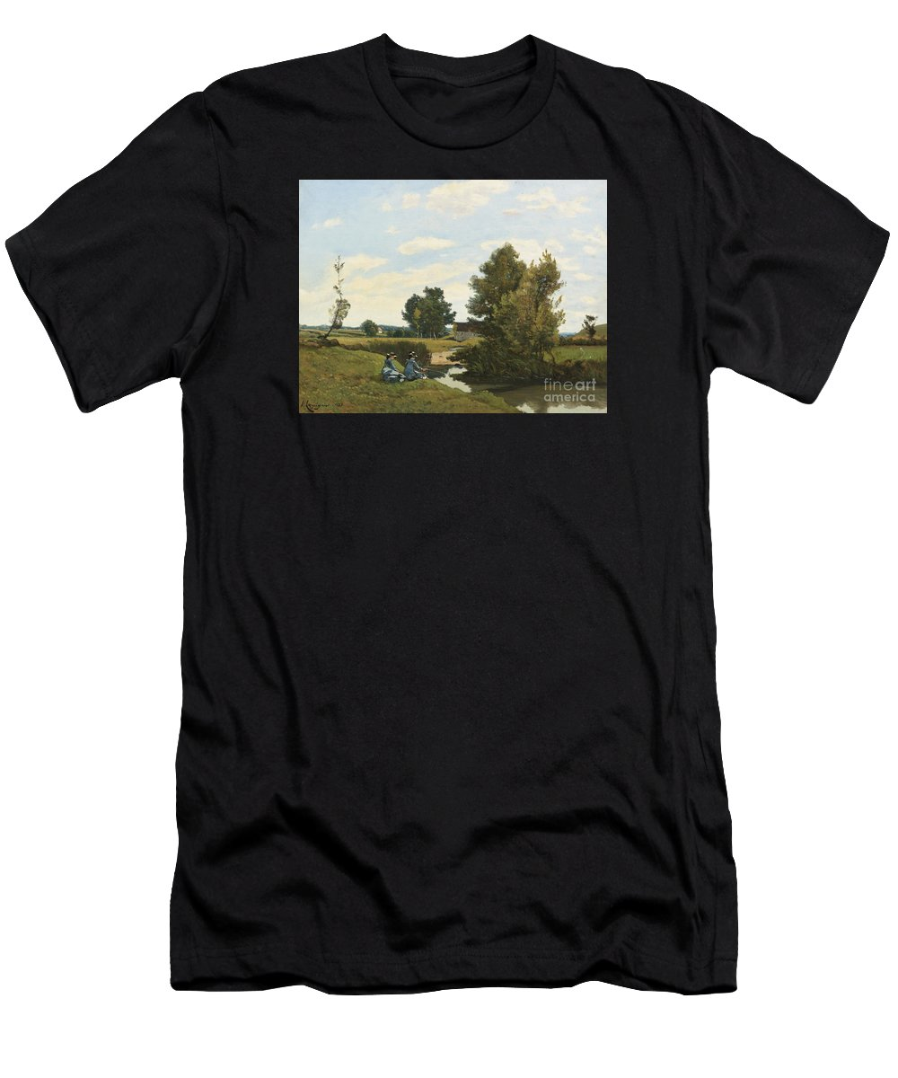 Henri-joseph Harpignies French 1819 - 1916 An Afternoon Along The Loing Men's T-Shirt (Athletic Fit) featuring the painting An Afternoon Along by MotionAge Designs