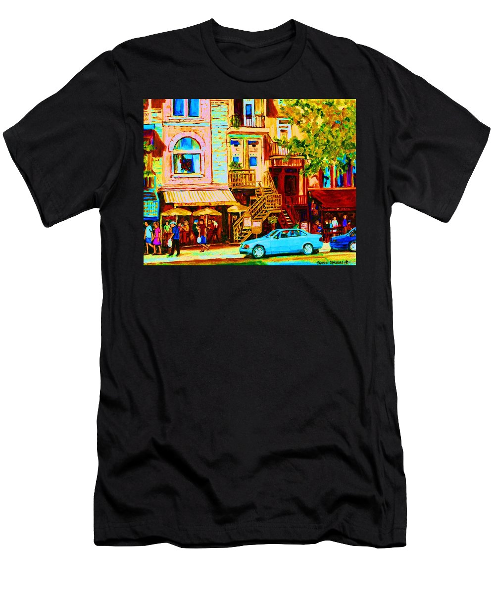 Cafe Art Men's T-Shirt (Athletic Fit) featuring the painting Beautiful Cafe Soleil by Carole Spandau