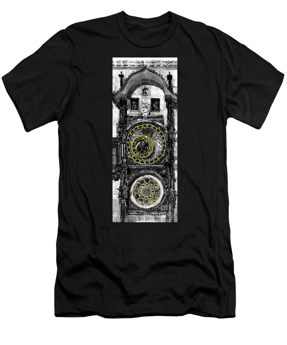 Geelee.watercolour Paper Men's T-Shirt (Athletic Fit) featuring the painting Bw Prague The Horologue At Oldtownhall by Yuriy Shevchuk