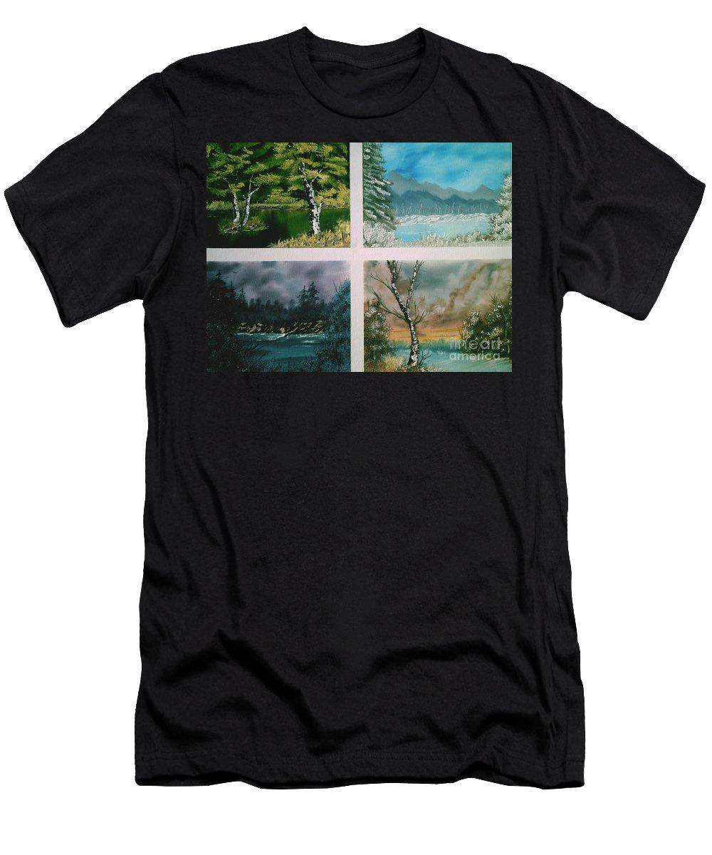 Landscapes Men's T-Shirt (Athletic Fit) featuring the painting Colors Of Landscape by Jim Saltis