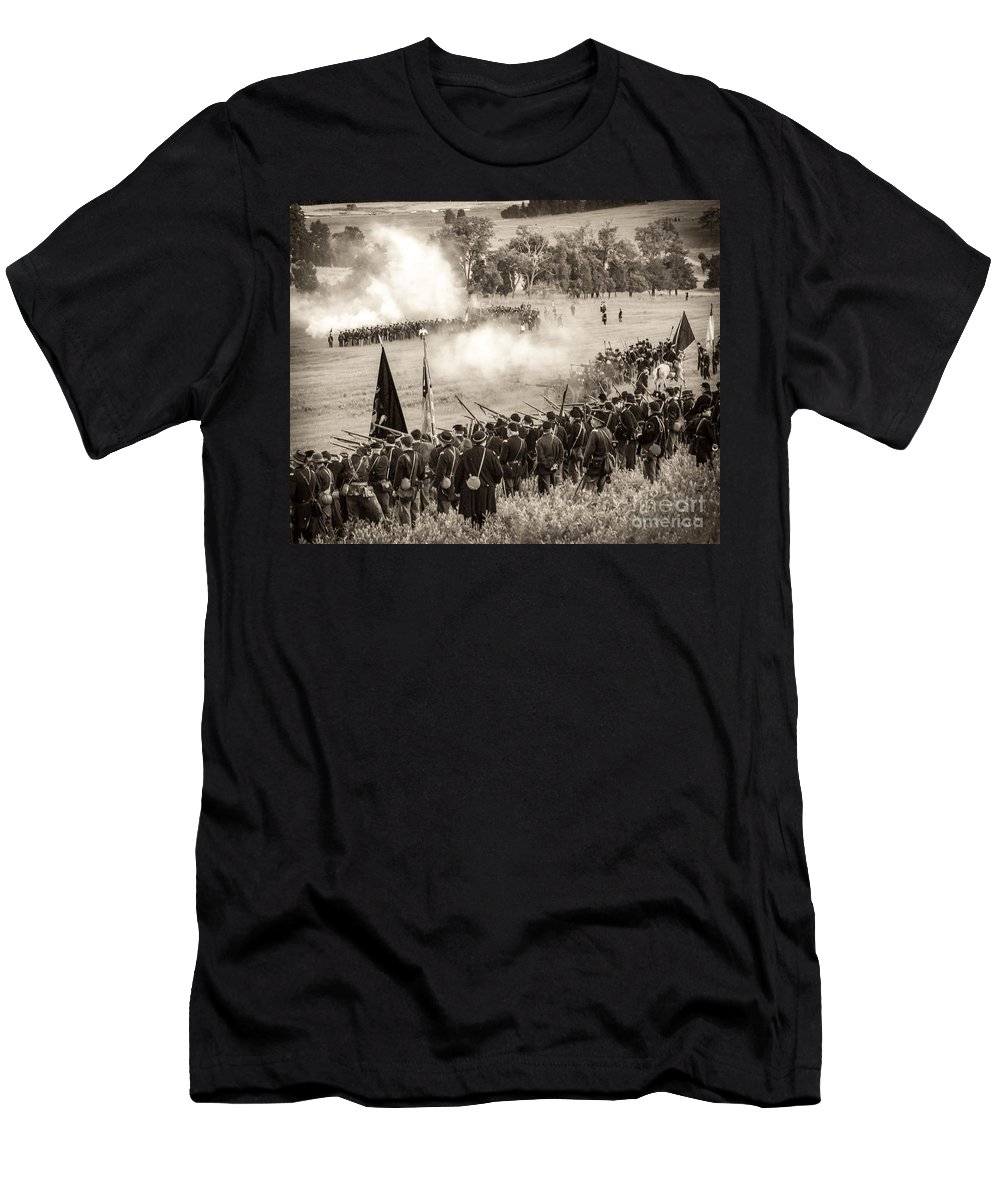 150th Men's T-Shirt (Athletic Fit) featuring the photograph Gettysburg Union Artillery And Infantry 7496s by Cynthia Staley