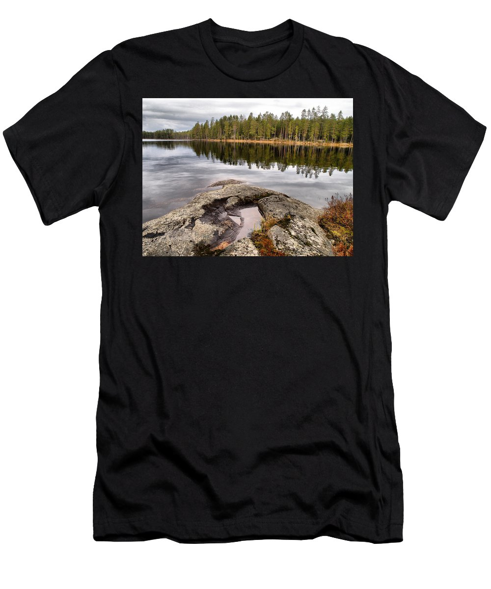 Lehtokukka Men's T-Shirt (Athletic Fit) featuring the photograph Haukkajarvi Landscape by Jouko Lehto